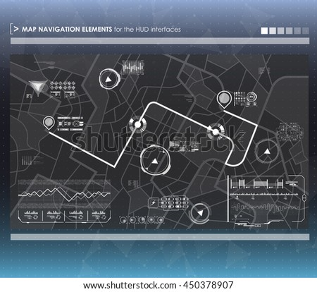Head-up display navigation map elements for the web and app. Futuristic user interface. Virtual graphic. - stock vector
