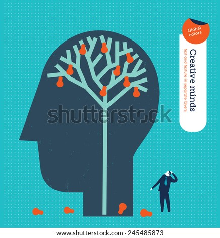 Head with a brain tree with bulbs as fruits. Vector illustration Eps10 file. Global colors. Text and Texture in separate layers. - stock vector
