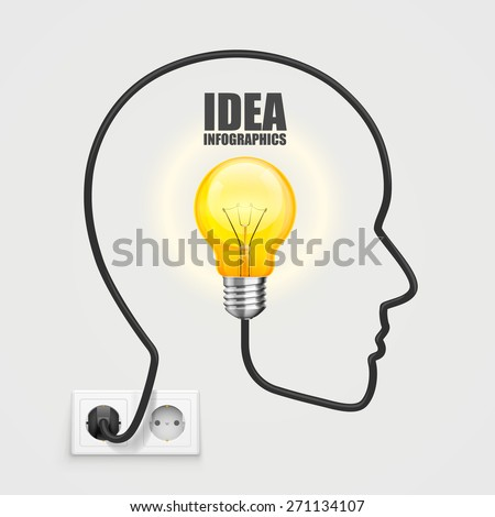Head with a light bulb from the socket. Vector Illustration - stock vector