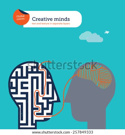 Head with ball of barn brain exits maze brain. Vector illustration Eps10 file. Global colors. Text and Texture in separate layers.  - stock vector
