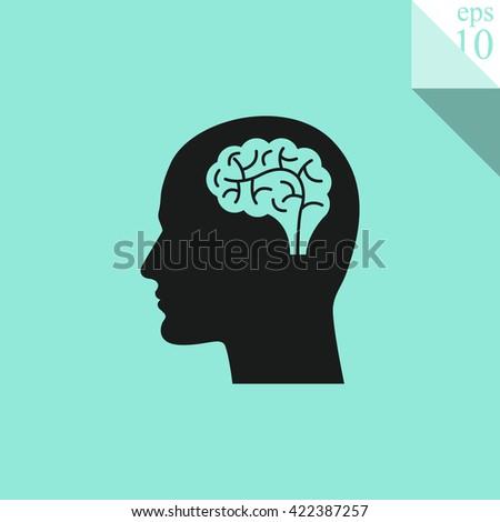 Head with brain Icon - stock vector