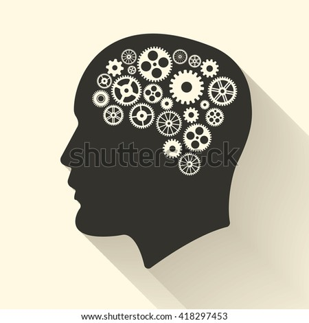 Head with brain pictograph. Male human think symbols. Vector illustration - stock vector