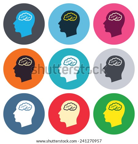 Head with brain sign icon. Male human head think symbol. Colored round buttons. Flat design circle icons set. Vector - stock vector