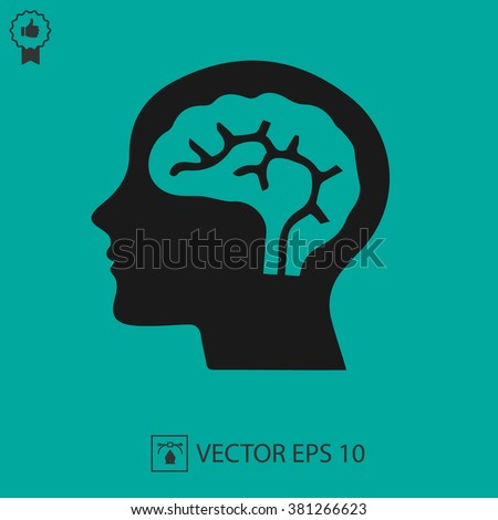 Head with brain vector icon EPS 10. Simple isolated silhouette symbol. - stock vector