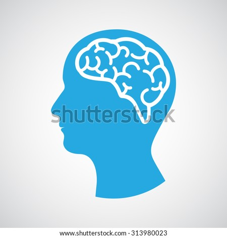 Head with brain. Vector illustration - stock vector