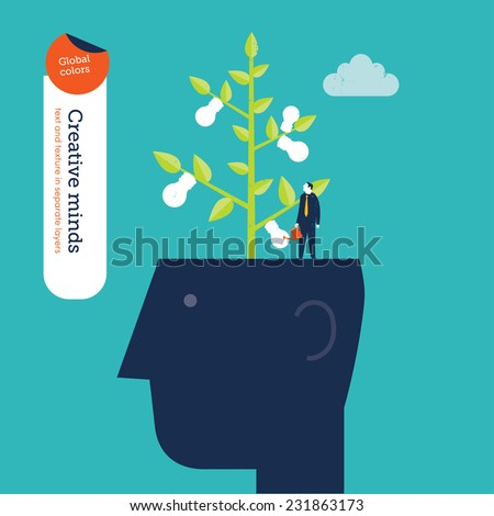 Head with bulb plant and gardner. Vector illustration Eps10 file. Global colors. Text and Texture in separate layers. - stock vector