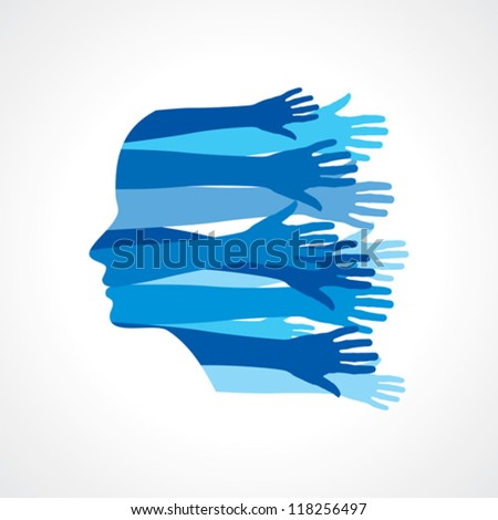 Head with Caring hands, abstract vector illustration - stock vector