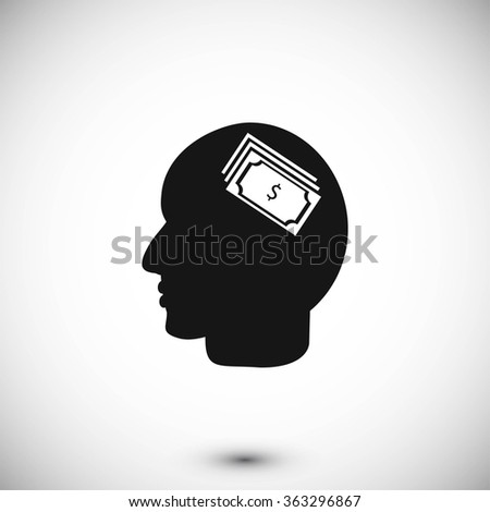 Head with dollar symbol icon - stock vector