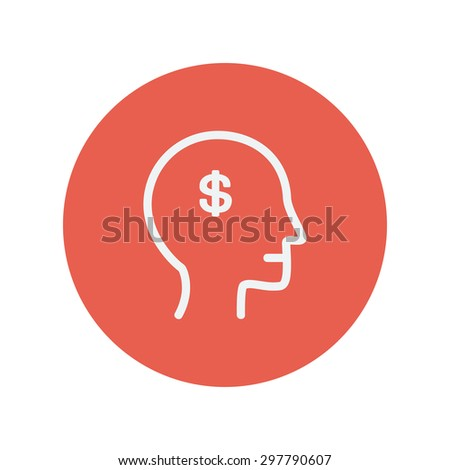 Head with dollar symbol thin line icon for web and mobile minimalistic flat design. Vector white icon inside the red circle. - stock vector