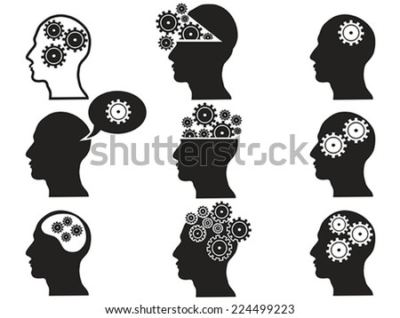 head with gears icon set - stock vector