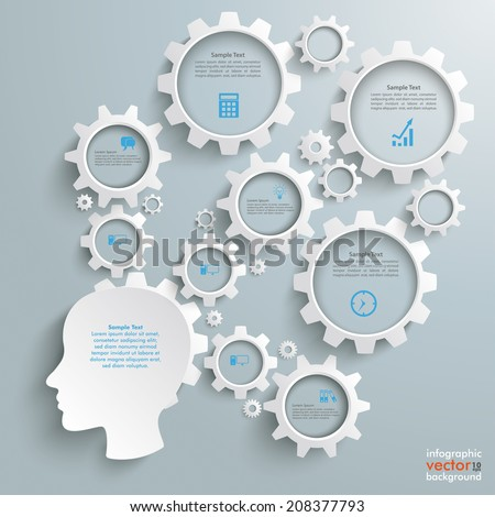Head with gears on the grey background. Eps 10 vector file. - stock vector