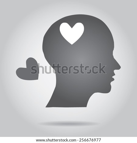 Head with heart. - stock vector