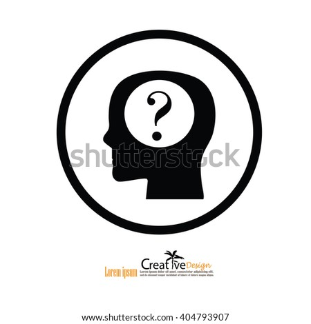 Head with question mark. Conceptual image.thought process.vector  illustration - stock vector