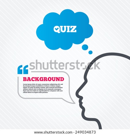 Head with speech bubble. Quiz check sign icon. Questions and answers game symbol. Think background with quotes and seamless texture. Vector - stock vector