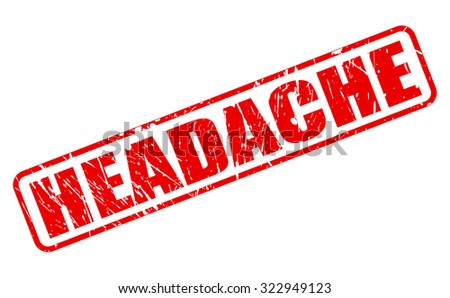 HEADACHE red stamp text on white - stock vector
