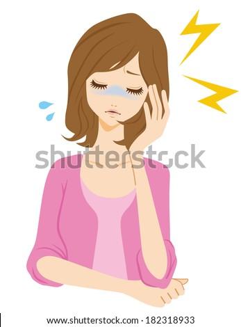 Headache woman - stock vector