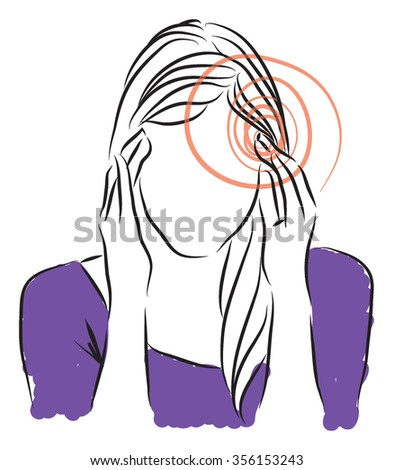 headaches woman illustration - stock vector