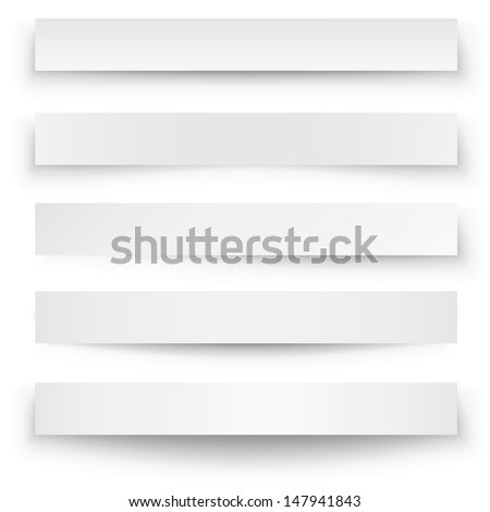 Header blank web banner shadow template isolated on white background. - stock vector