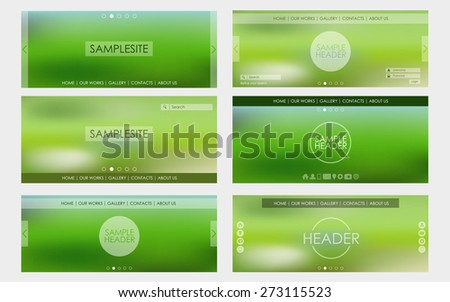 Header design for web site on green blurred background. Vector illustration. Set. - stock vector