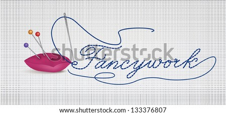 Header with needle and thread. Sewing needle and thread with buttons. Vector illustration of Sewing Accessories on white background. - stock vector