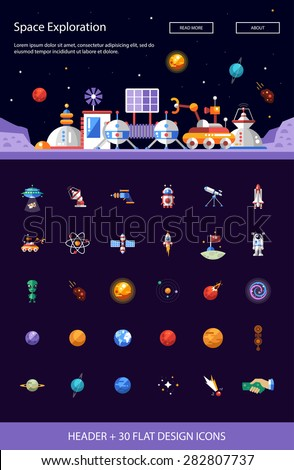 Header with vector modern flat design space icons and infographics elements set for your website illustration - stock vector