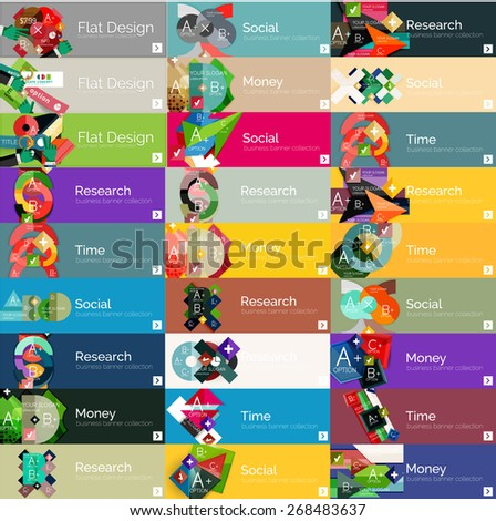 Headers, flat design option infographic banners, vector set - stock vector