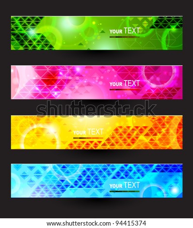 Headers set of four color banners of the abstract - stock vector