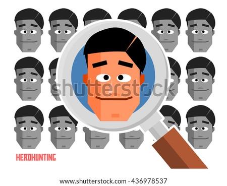Headhunter graphic. Flat vector illustration. - stock vector