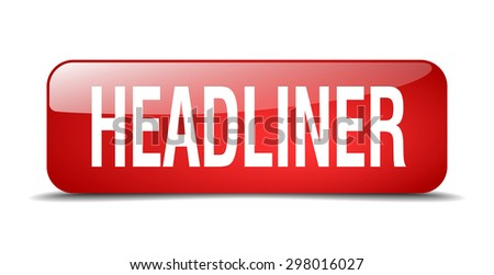 headliner red square 3d realistic isolated web button - stock vector