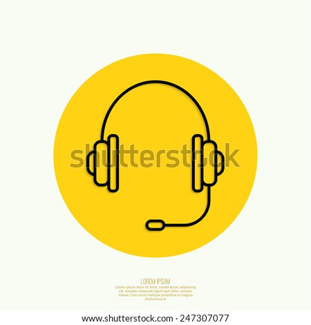 Headphone for support or service on yellow background. icon. minimal. Outline. Mobile and Web Applications - stock vector