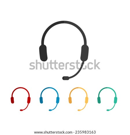 Headphone for support or service - vector icon, flat design - stock vector