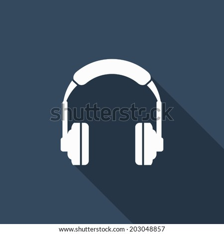headphone icon with long shadow - stock vector