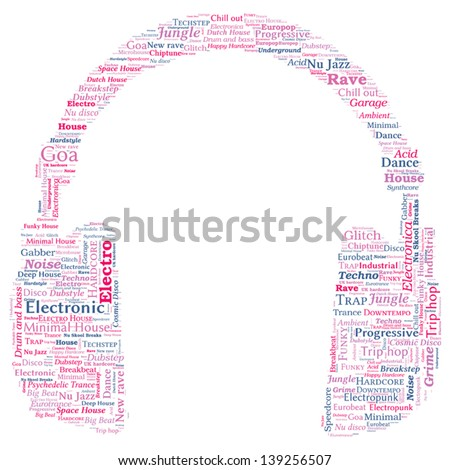 Headphone Shaped Word Cloud - Electronic Music Concept - stock vector