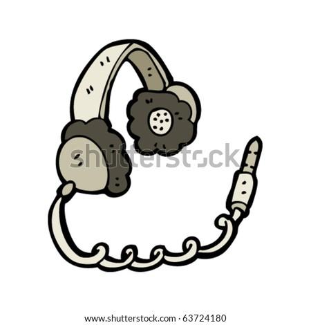 headphones cartoon - stock vector