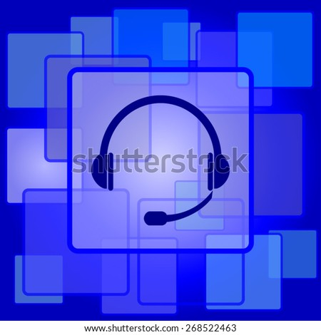Headphones icon. Internet button on abstract background.  - stock vector