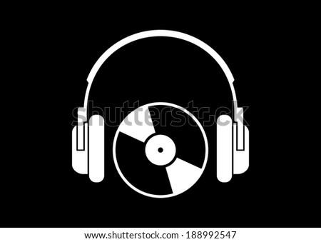 Headphones icon on black background - stock vector