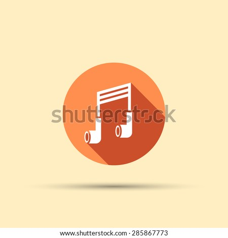 Headphones in the form of a musical note isolated vector round flat icon with long shadow - stock vector