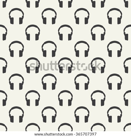 Headphones seamless pattern - simple music background - stock vector