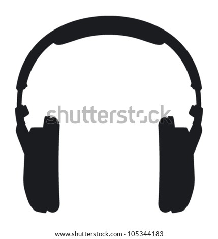 Headphones. Silhouette on a white background. - stock vector