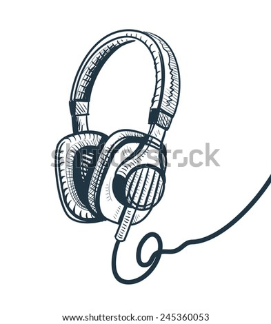 headphones sketch vector illustration - stock vector