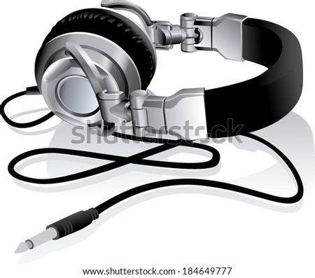 headphones to listen music - stock vector