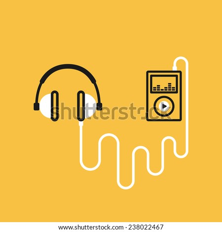 Headphones with a player, music concept, vector illustration - stock vector