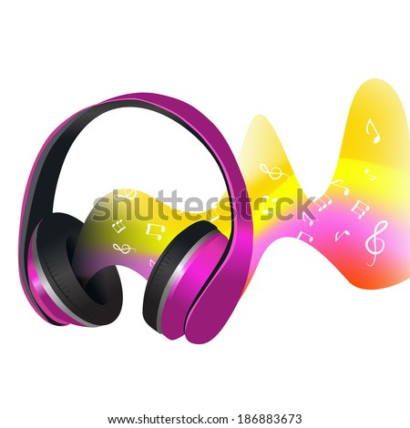 Headphones with colored decorative abstract soundwave with music signs print vector illustration - stock vector
