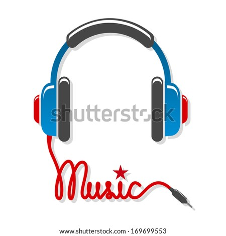 Headphones with cord and word music isolated vector illustration - stock vector