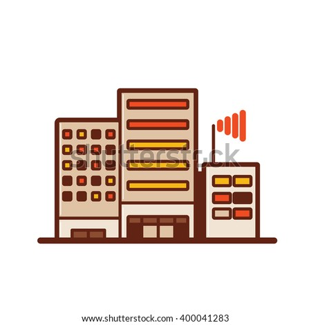 Headquarters and branches or Building office network - stock vector