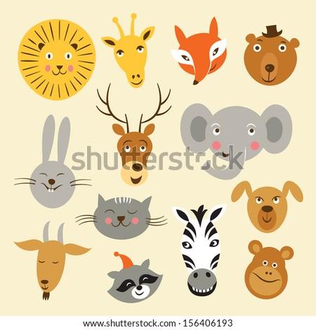 Heads of cartoon animals, vector set  - stock vector