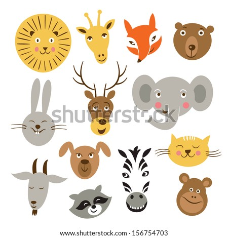 Heads of cartoon animals, vector set on a white background - stock vector
