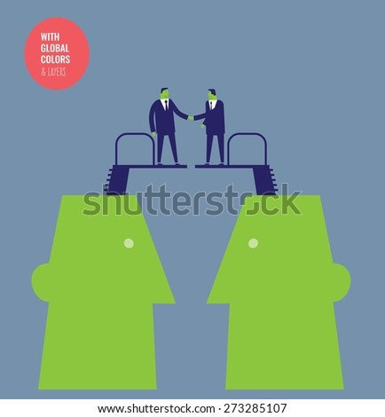 Heads with diving boards and businessmen shaking hands. Vector illustration Eps10 file. Global colors&layers. - stock vector