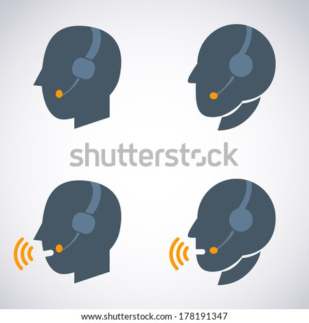 Headset Contact. Live Help. Support icon. Vector set Illustration - stock vector