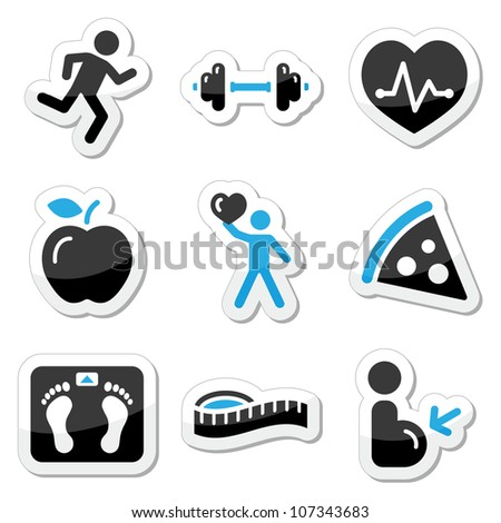 Health and fitness icons set - stock vector